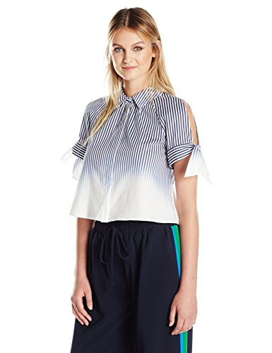 (MILLY Women's Tie Sleeve Button Up, Navy, 6 )