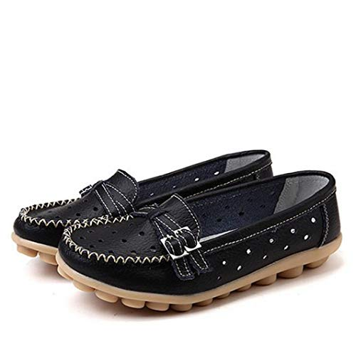 Fay Waters Women's Leather Loafers Slip-Ons Flats Comfort Driving Walking Casual Moccasins Buckle Boat Shoes