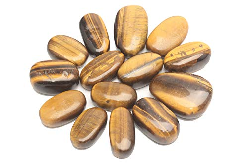 ZenQ 1 lb Tigers Eye Tumbled Stones Crushed Natural Crystal Quartz Pieces 1.37-1.96 Inches Each