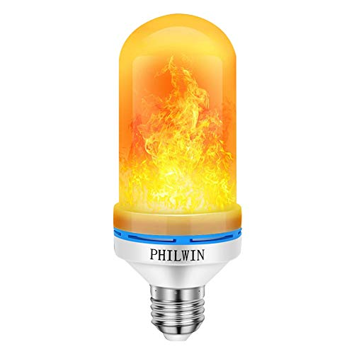 PHILWIN LED Flame Effect Light Bulb, E26 Base LED Flame Bulb, 4 Modes with Upside Down Effect, Flicker Bulbs for Christmas, Home, Party, Bar, Hotel Decoration(1 Pack)