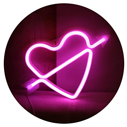 Neon Art Decorative Lights The Arrow of Love LED Neon Cupid Love Heart Signs Light Wall Decor for Girls Bedroom House Bar Pub Party Wedding Valentine's Day (Pink Neon Heart)]()