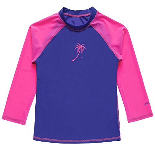 Attraco long sleeve rash guard kids girls rashguard swimsuits uv shirts size 6