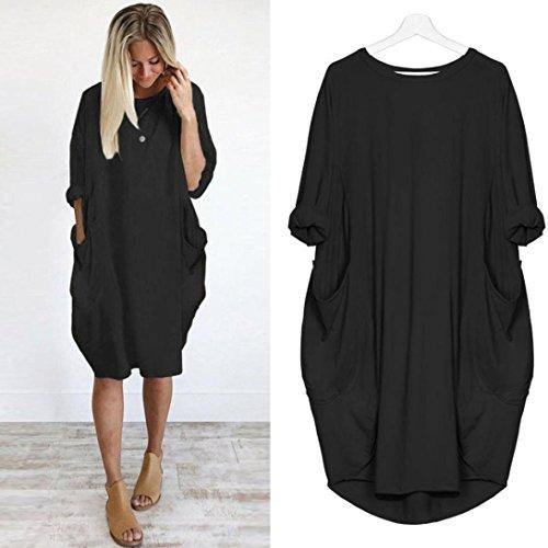 Price comparison product image Womens Fashion Pocket Women Loose T Shirts Home Long Shirt Mini Dresses Tops (Black, L)