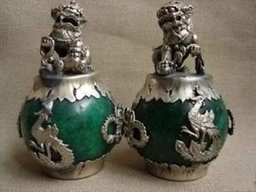 Gpzj Collectables Pair of Nepalese Buddhism Silver Dragon Jade for Dog Statue Figurine/Gifts/Office/Ornament/Crafts/Home Decorations