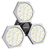 Led Garage Light,BEIEN 80W Deformable Garage Lighting 8000LM 144LED E26 Garage Ceiling Light for Garage CRI85 6500K Utility Shop Light with 3 Adjustable Panels for Workshop Basement (No Motion)