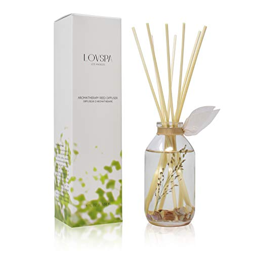 LOVSPA Beachwood Vetiver Reed Diffuser & Sticks Gift Set - Clean, Light & Airy Scent of Dried Coconut, Eucalyptus, Jasmine, Vetiver & Sun Dried Driftwood - Natural Essential Oils - Made in The USA