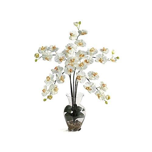 Nearly Natural Phalaenopsis Liquid Illusion Silk Flower Arrangement Cream
