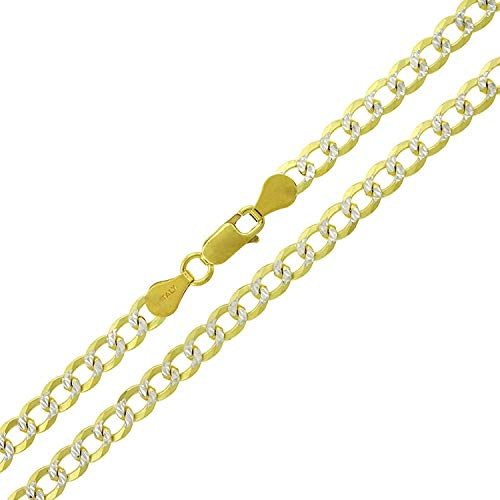 (Sterling Silver Italian 5mm Cuban Curb Link Diamond Cut Two-Tone Pave ITProLux Solid 925 Yellow Gold Necklace Chain 16