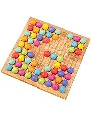 Lafitemore Trä-go-spelset, Montessori pedagogiska regnbågspärlor pussel brädspel, pussel färg sortering stacking konstleksaker, prickskyttepärlor brädspel leksak för barn