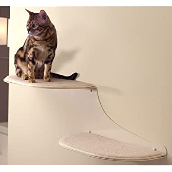 The Refined Feline Cat Cloud Cat Shelves in Off-White, Left Facing