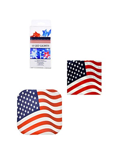 Square Patriotic Paper Plates and Napkins Party Pack - Serves 14 with Patriotic Star-Shaped Strand LED Lights