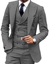 Men's Blue Slim Fit Suit 3 Piece Two Boutton Blazer Tux Vest & Trousers