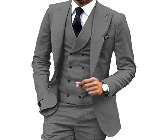 - JY Mens Fashion 3 Pieces Men Suits Wedding Suits for Men Groom Tuxedos,38US/UK & 48EU-JACKET,32-PANTS,Dark Gray
