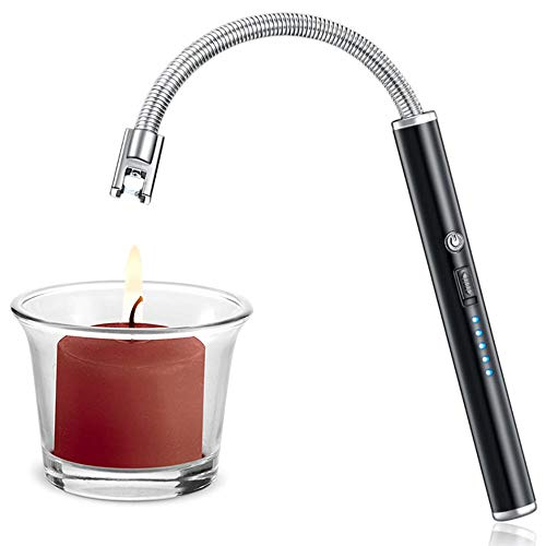 - Candle Lighter, Upgraded USB Charging Arc Lighter with 360° Flexible Neck, Suitable Ignite Light Candles Gas Stoves Camping Cooking Barbecue Fireworks Flame, Elegant Black