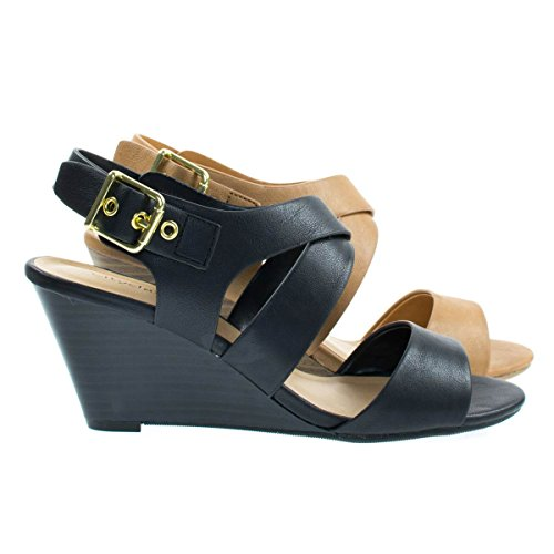 Bamboo Single Sole Low Wedge Sandal w Straps & Cuffs A All Black Zytt6