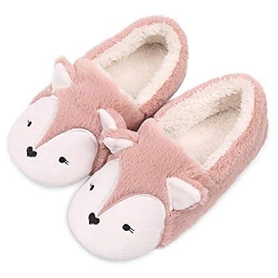 Womens Fox Fleece Animal Cozy House Slippers Indoor Outdoor