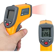 TOP-MAX Non Contact LCD Digital Laser IR Infrared Thermometer Temperature Gun Range Measurement Yellow Black -50-360°C