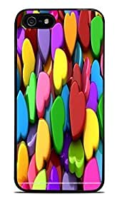 Colorful floral Heart Black Hardshell Case for iPhone 6 4.7