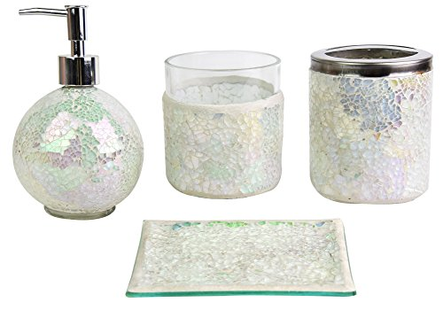 SkyMoving Luxury Bathroom Accessories set, 4-Piece Mosaic Glass Luxury Bathroom Gift Set, Includes Soap Dispenser, Toothbrush Holder, Tumbler & Soap Dish (White 2)