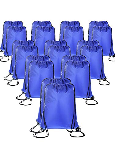 BBTO 20 Pieces Drawstring Backpack Sport Bags Cinch Tote Bags for Traveling and Storage (Navy Blue)