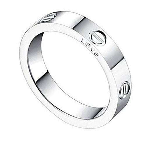 Trozk Fashion Titanium Steel Love Ring - Jewelry Box Packing Wide 5MM Lovers Rings (Silver, 7)