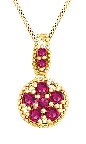 Gold Ruby Circle Pendant (Round Cut Simulated Pink Ruby Circle Pendant Necklace In 14k Yellow Gold Over Sterling Silver)