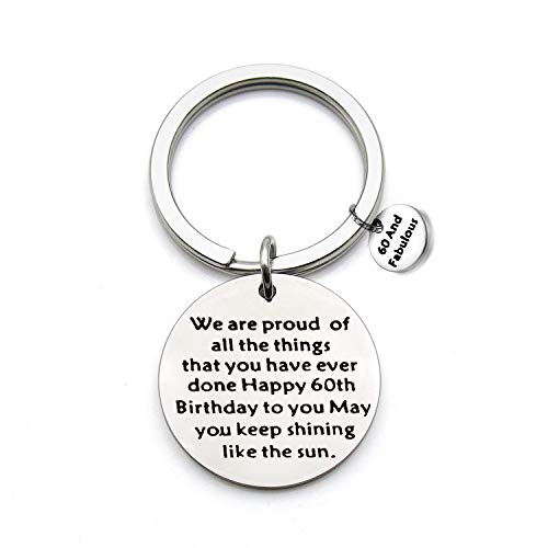 FEELMEM Birthday Gift Happy Birthday Keychain, 10th 12th 13th 16th 30th, Stainless Steel Birthday Key Ring Gift, for Women, Men, Kids, Friends and Family (60th) (Best Clothes For 60 Year Old Woman)