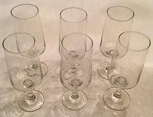 Vintage Set of 6 Mid-Mod Footed Cordial Aperitif Liqueur Glasses