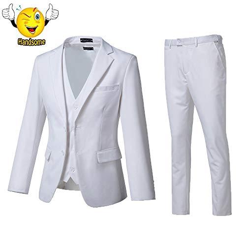(High-End Suits 3 Pieces Men Suit Set Slim Fit Groomsmen/Prom Suit for Men Two Buttons Business Casual)