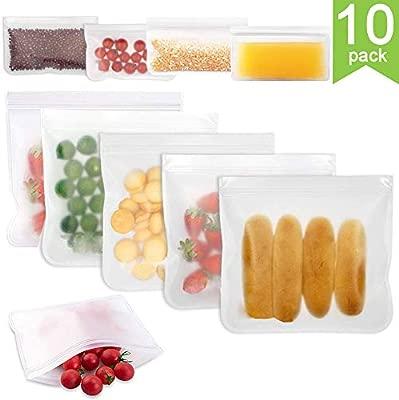 YGZN Bolsas Reutilizables para Almacenamiento de Alimentos,Paquete de 10 Bolsas de sándwich Reutilizables a Prueba de Fugas,Almacenaje, Almuerzo, ...