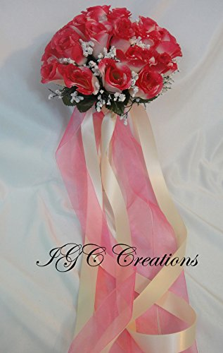 (Wedding Bridal Floral Flower Bouquet - Silk Rose Flowers Bouquets With Raindrops And Organza/Satin and/or Grosgrain Ribbon - Two Tone - Ivory/Hot Pink (SRWB-059))