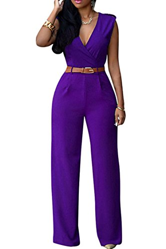 Pink Queen Women's Purple Deep v Neck Sleeveless Loose Long Jumpsuits Rompers S Purple - Suit Pants Purple