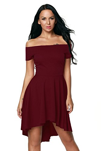 Lalagen Women's Off Shoulder High Low Pleated Cocktail Party Skater Midi Dress Burgundy S (Gorgeous Pleated Dress)