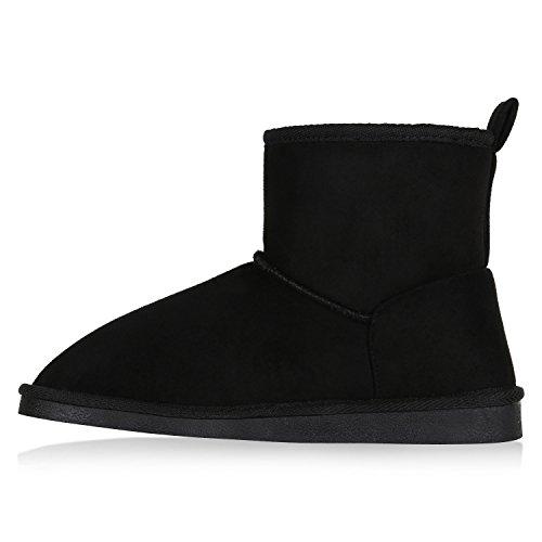 Stiefelparadies Damen Schuhe Stiefeletten Schlupfstiefel Warm Gefütterte Stiefel Schleife Flandell Schwarz Camiri