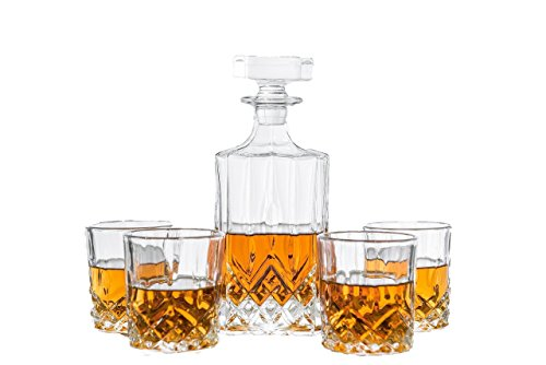 Emerson Decanter Set For Whiskey, Wine or Liquor. This LEAD FREE Irish Cut Bar Set Includes a 750 ml Decanter with 4 Matching Glasses (Old Chair Fashioned Styles)