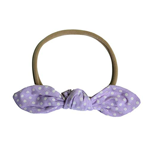 MOPOLIS Cute Baby Pure Color Plaid Stripes Bow Elastic Hair Led headband Accessories B2U | Color - Round Point Purple