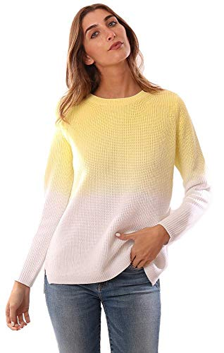 525 America Sweaters Crew Neck Long Sleeve Yellow Ombre Knit Pullover - Yellow - S