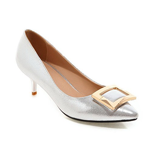 Amoonyfashion Donna Pu Tacco A Spillo Con Punta Chiusa Scarpe Solide Pull-on-scarpe Argento