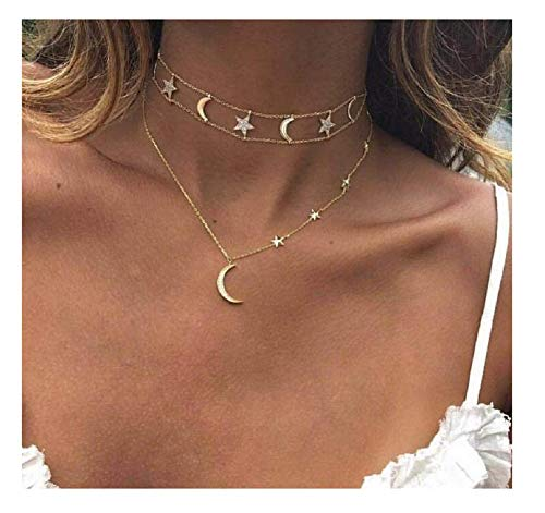 Tiande Fashion Golden Star Moon Rhinestone Choker Multi - Layer Necklace for Birthday Friendship Jewelry