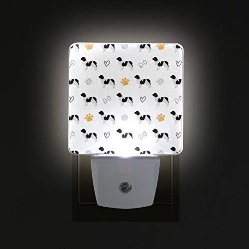 Plug in LED Night Light Newfoundland Dog Silhouette Lamp with Dusk to Dawn Sensor for Kitchen Hallway Bedroom Bathroom, 2 Pack
