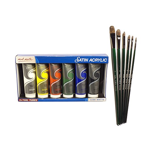 Acrylic Paint Set & Brushes 6 x 75ml Vivid Color Paint Tubes for Paper, Canvas, Wood, Ceramic, Fabrics and Crafts – Includes 5 Piece Rounded Brush Set – Great for Hobby Painters from Kids & Adults