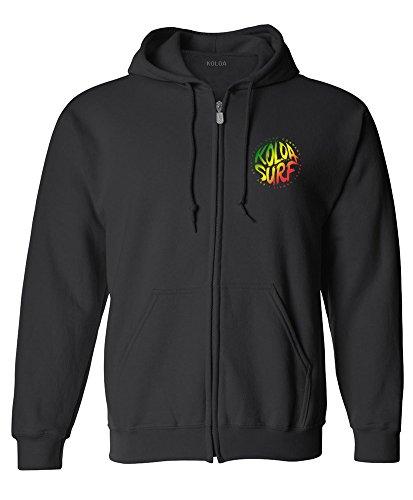 Koloa Surf Brush Logo Zipper Hoodie-3XL-Blk/rasta