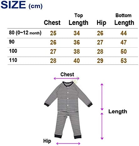 Babiesnature Boys and Girls Striped 2-Piece Organic Cotton Pajamas Sizes 2T 3T and 4T