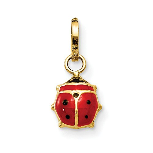 14k Yellow Gold Enameled Ladybug Pendant Charm Necklace Insect Fine Jewelry Gifts For Women For Her ()