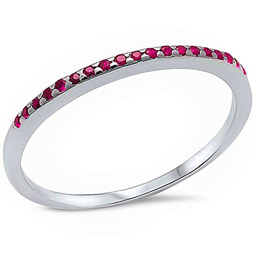 [Simulated Ruby Eternity Style .925 Sterling Silver Ring Size 6] (Created Ruby Eternity Ring)