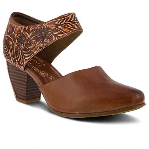 L`Artiste by Spring Step Women's Leather Mary Jane Shoe TOOLIE Brown EU Size 39 1/2 Inch Dorsay Pump Shoes