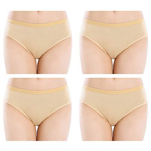 Closecret Women Comfort Cotton Stretch High Cut Briefs Panties (L(Waist:34-35.5inch), 4 Beige)