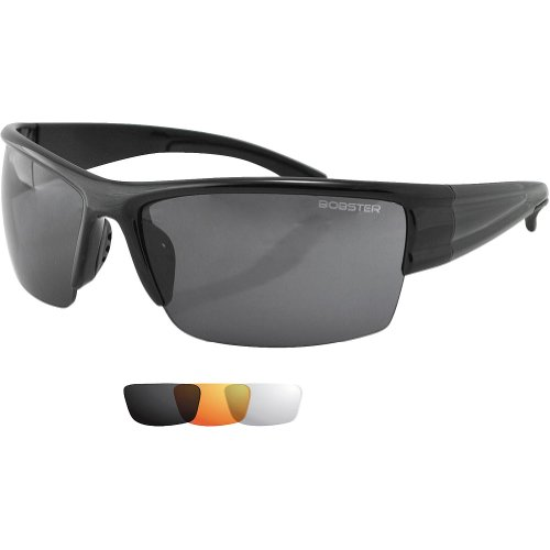 Bobster Adult Caliber Sunglasses, Black/Smoked, Amber, Clear, One Size