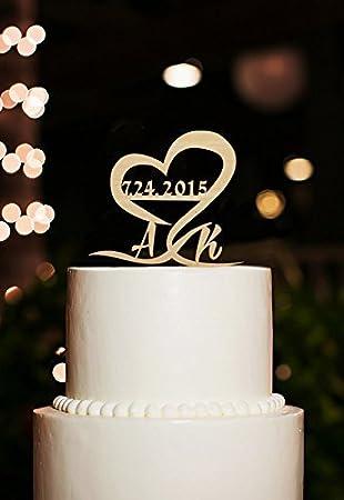Personalisierbarer Tortenaufsatz In Herzform Mit Hochzeitsdatum