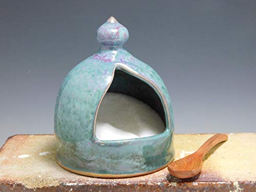 714 Salt Cellar Salt Pig Stoneware hand Thrown on Potter's Wheel Blue by Mission Hills Pottery